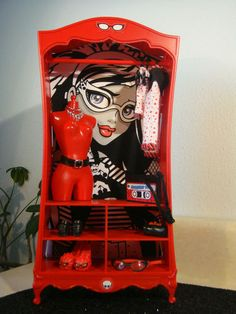 Monster High Doll House Furniture OOAK 4 Barbie Moxie Liv Bratz Ghoulia Yelps | eBay; [This is a Barbie piece from a set w/clothes,2 dolls,& accessories - pkg set already pinned on this board. Nice makeover! Planning to paint mine black & add faux baskets or box drawers at bottom & shelves for conversion: closet, china cabinet or entertainment center - kj ]