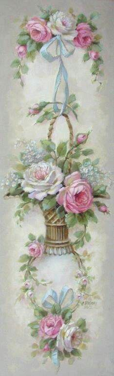 """Les Fleurs Panel, Christie Repasy, 12"""" x 36"""". $145.00 Canvas Prints, Printables, Rose Cottages, Shabby Chic, Christy Repasy, Art, Cottage Style Homes, Decoupage, Flowers"""