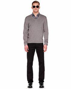Michael Kors Tipped V-Neck Merino Sweater & Two-Pocket Woven Shirt.