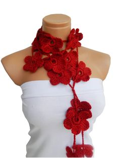 Hand made crochet Red Rubby Flower Lariat Scarf by WomanStyleStore, $25.00