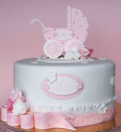 Baby Shower cake with a pram.