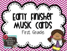Early Finisher Music Cards {First Grade}--great for students who finish early to stay engaged!