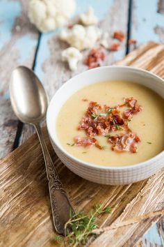 Cauliflower soup with bacon   insimoneskitchen.com