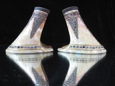 1920s Art Deco Pearlized Celluloid & Rhinestone Shoe Heels from marzillivintage on Ruby Lane