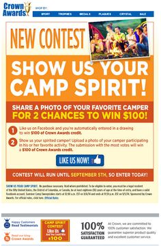 """Highlight your kids camp experiences, outdoor adventures and summer fun in our New Facebook Contest- """"Show Us Your Camp Spirit"""". Entering is Easy - here's how: http://www.crownawards.com/TrophyNews/crown-camp-spirit-contest/ #summercamp #contest #blog"""