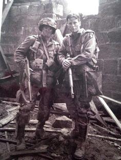 Ross McCall (Liebgott) and Frank John Hughes (Guarnere) on set. Courtesy of Ross McCall's twitter.