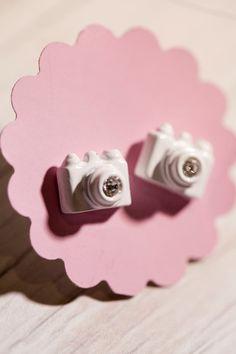 Tiny White Camera stud Earrings