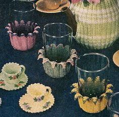 "Vintage Crochet Tea Cups and Glass Cozy Coasters by ""Charming Crochet"" I mean seriously, people how southern is this?!"