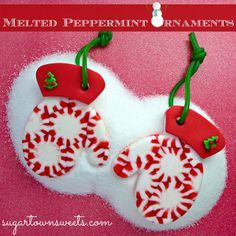 Melted Peppermint Ornaments - Simple Christmas ornament craft idea
