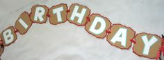 Sock Monkey Happy Birthday Banner with Baby Blue and White letting. $15.00, via Etsy.