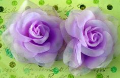 Purple Organza Rose Flowers $3.00