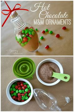 Make these DIY Hot Chocolate M&M Ornaments!  They're easy, inexpensive and so cute.  Perfect for attaching to a gift card this Christmas. #DIY #Ornament #FueledbyMM #shop