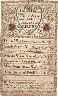 Family Record of Daniel and Sarah Sexton - Fraktur