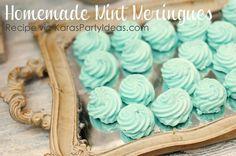 EASY Homemade Mint Meringues RECIPE! Via Kara's Party Ideas