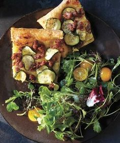 Zucchini Tart With Crumbled Sausage and Dijon recipe