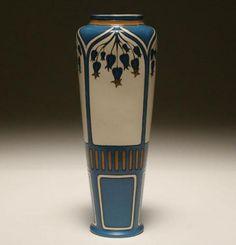 Mettlach Stoneware Art Nouveau Bluebells Vase