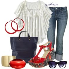 Red Patterned Wedges, created by cynthia335 on Polyvore