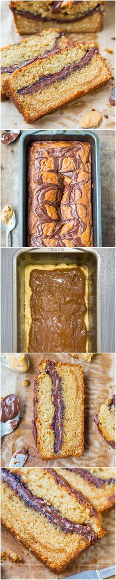 Nutella-Layered-and-Swirled Peanut Butter Bread {Peanut Butter Loaf Cake}