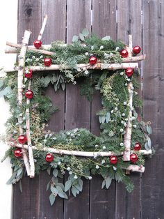 Pretty birch wreath...square is awesome. love it.