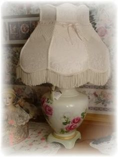 shabby hand painted roses on vintage table lamp  vintage-to-chic on ebay by Judy Mullins