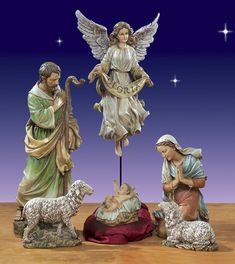 "Artisan Holy Family, Angel and Lambs from Joseph's Studio 27.5"" - table top nativity. $389.00 http://www.christmasnightinc.com/c49/c50/Artisan-Holy-Family-Angel-and-Lambs-from-Josephs-Studio-275--p604.html#"
