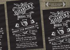 Chalkboard Vintage Bridal Tea invitations. Bridal Shower - high tea invitations printable. on Etsy, $20.00