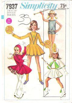 Vintage 1960s Simplicity 7937 Cheerleader Costume Sewing Pattern - Drum Majorette, Ice Skater and Baton Twirler