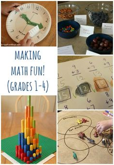 """Math is so much more appealing (or at least more tolerable for those who don't prefer it) when you add a hands-on dimension. Here is a collection of activity ideas for math in the elementary years..."""
