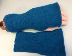 B77 teal blue Cashmere wrist warmer women girls Fingerless gloves upcycled Cashmere Fingerless Mittens Wrist Warmers Cashmere armwarmers on Etsy, $22.00