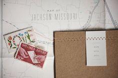 Laura's Kraft Paper and Chevron Stripe Wedding Invitations via Oh So Beautiful Paper.