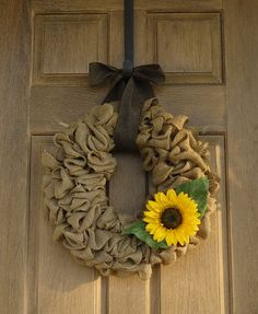 Bright Sunflower Burlap Wreath. Perfect for the end of summer/beginning of Fall.