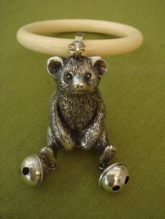 SOLID STERLING SILVER ENGLISH HALLMARKED SHEFFIELD TEDDY BEAR BABY RATTLE