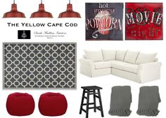 The Yellow Cape Cod~ Gray and Red Basement Family Room