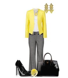 Cute work outfit! No yellow maybe mauve