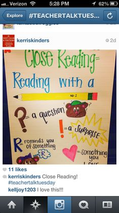 Close reading for little ones classroom fun, ccss ela, little ones, anchor charts, schoolanchor chart, close reading anchor chart, educ, closed reading, 2nd grade