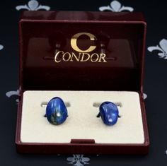 CONDOR Vintage Gents or Lady's Cufflinks Blue Natural Stones Original Box