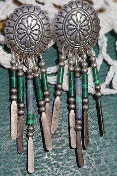 Vintage Southwestern Sterling Silver Concho Green Malachite Dangle Earrings | eBay