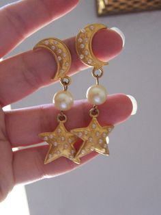 vintage pearls gold moon and star earrings by goodfindsfrommiami, $10.00