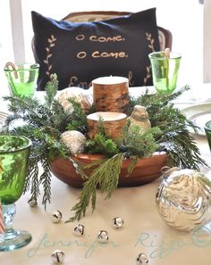 easy center piece with Wood bowl, greens and birch candles