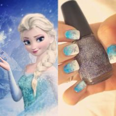 Frozen's Elsa Inspired Nail Art: blue to white gradient with silver snow flakes