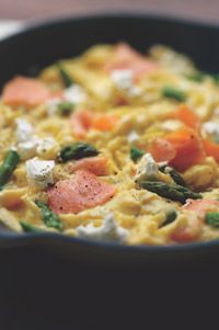 Scrambled Eggs with Smoked Salmon, Asparagus and Goat Cheese
