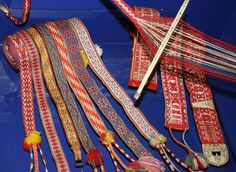 Woven Sami belts and shoe bands.