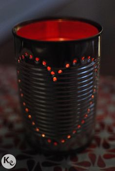 DIY. Tin can candle holder