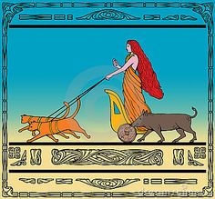 Freya Norse Goddess Chariot Cat