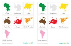 Montessori Continents Free 3-Part Cards