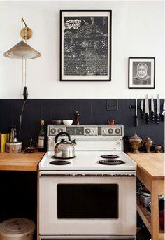 black white and wood kitchen