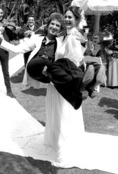 Lynda Carter (Wonder Woman) & Ron Samuels on their wedding day, 1977