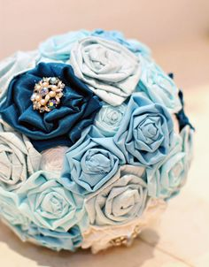 blue fabric flower bouquet