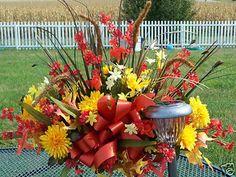 Troy Oh Piqua Cemetery Grave Flowers Tombstone Saddles Fall Cemetery Sprays | eBay