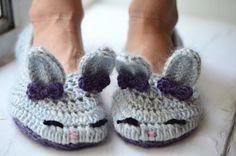 Women's Crochet Fuzzy Bunny Slippers